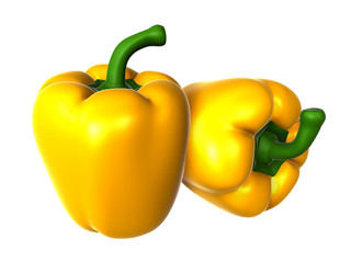 Two Fresh Yellow sweet pepper. Foods and Dishes Series.