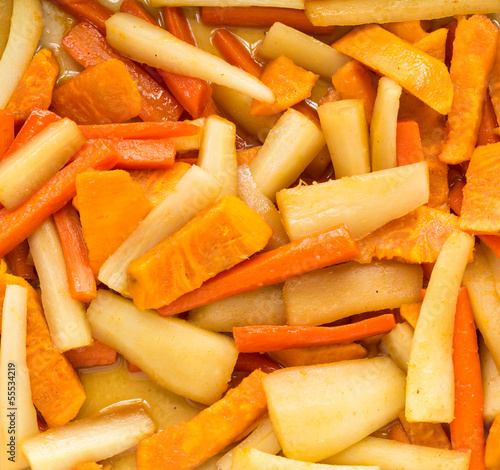 Carrots, parsnips and sweet potatoes in cider sauce