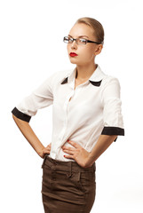 girl in a blouse unusual posture