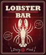 Vintage lobster bar poster design