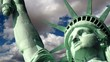 Statue of Liberty close-up with moving cloud time lapse.