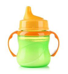Bright baby bottle with milk isolated on white
