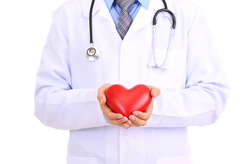 Medical doctor holding heart  isolated on white