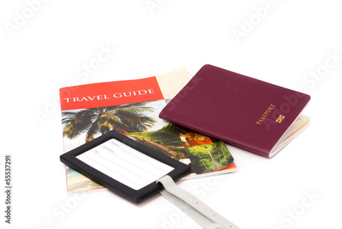 passport guidebook and baggage tag