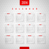 Vector design temlate -  Calendar of 2014