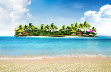 summer holiday background and island with palm trees