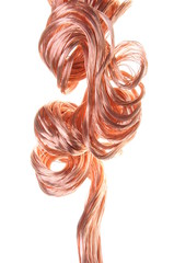 Red copper wire, industrial object on a white background