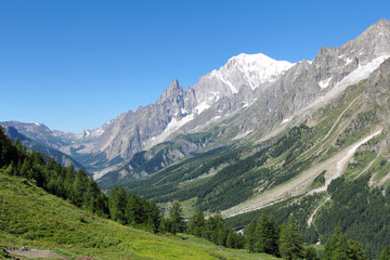Mont Blanc and Ferret Valley landscape