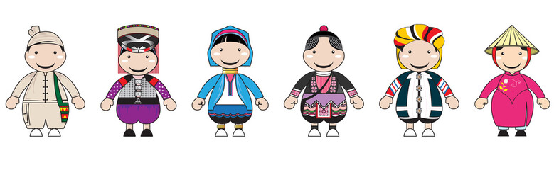 Illustrations of hill tribe cartoon