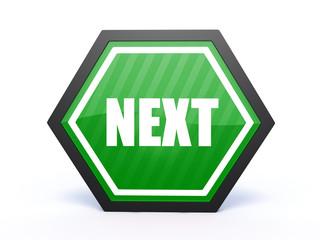 next hexagon icon on white background