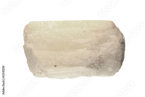 Crystal of white beryl isolated on white