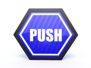 push hexagon icon on white background