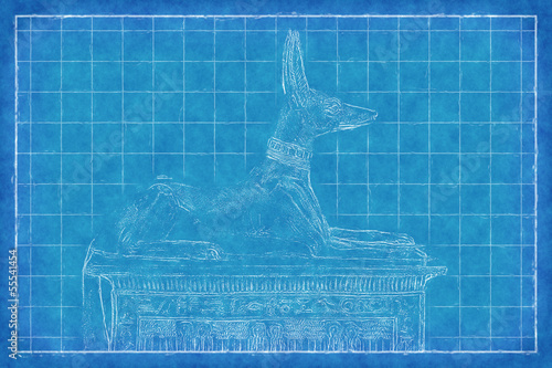 Egyptian God Anubis - Blue Print