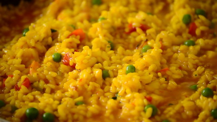 Paella rice cooking, Boil oily pilaf close