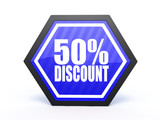 discount hexagon icon on white background