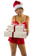 sexy asian female in red lingerie receiving a gift