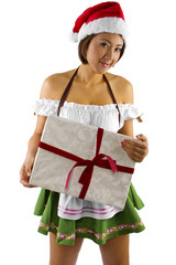 sexy asian female dressed as santa's helper elf with a gift
