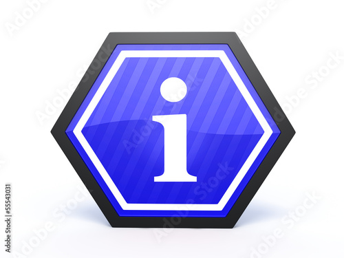 information hexagon icon on white background