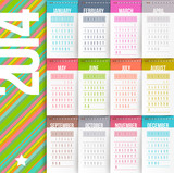 Calendar of 2014 with stitched labels-months