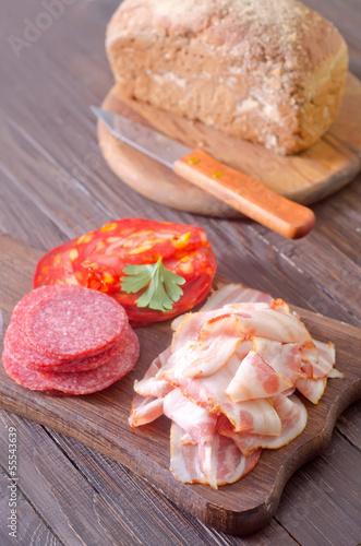 bread, salami and bacon