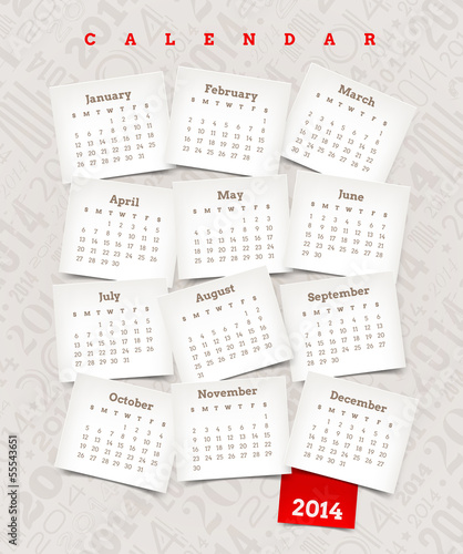 Decorative calendar of 2014