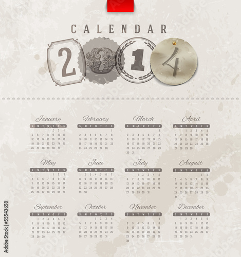 Vintage calendar of 2014 with decorative lettering elements