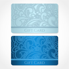Blue Gift / Discount / Business card template. Pattern