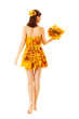 Back side view of Autumn woman in fashion dress of maple leaves