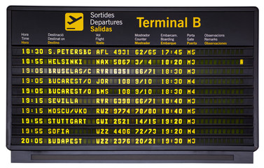 Departures board isolated
