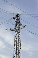 Electric tower with wires