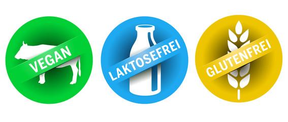Symbol Glutenfrei, Vegan, Laktosefrei vektor