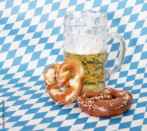 canvas print picture Bier und Brezen
