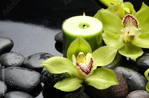 zielona-orchidea-i-swieczka-na-czarnych-kamieniach