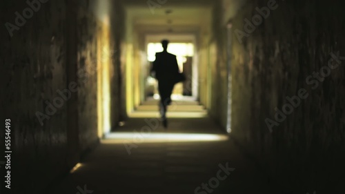 tunnel silhouette man running light safety concept HD
