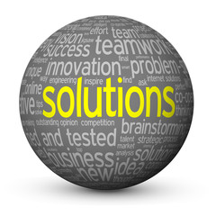 SOLUTIONS Tag Cloud Globe (ideas creativity innovation business)