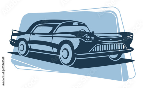 Retro car silhouette. Vector illustration.