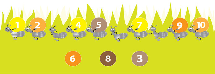 ants with numbers 1-10 for kids vector illustration