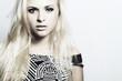 Beautiful fashion blond woman with disheveled hair.make-up
