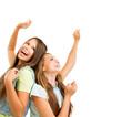 Happy Teenage Girls Dancing. Beauty Teenagers Having Fun