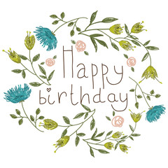 Birthday card on a floral background.
