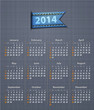 Stylish calendar for 2014 on linen texture with jeans insertion