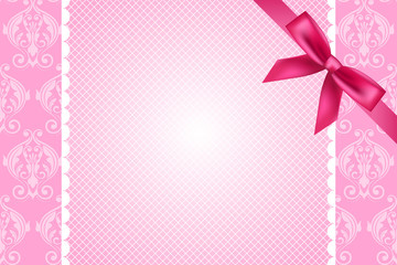 Vector ornate pink background with lace and bow