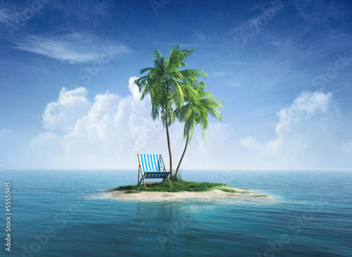 Desert tropical island with palm tree, chaise lounge. - 55550415