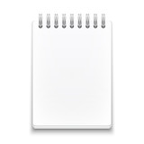 Blank spiral notebook on white background.