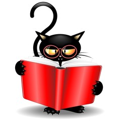 Black Cat Cartoon Back to School with Book-Gatto Nero con Libro