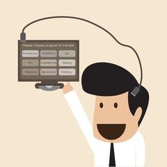 Businessman download data into his memory head
