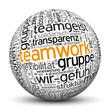 Kugel, Teamwork, Teamgeist, Team, Wir, Erfolg, Wordcloud, 3D