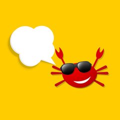 happy crab with speech bubble
