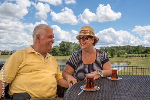 Senior Couple Having Hot Turkish Tea
