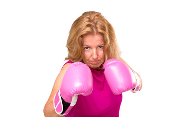 A Blonde Woman With Boxing Gloves